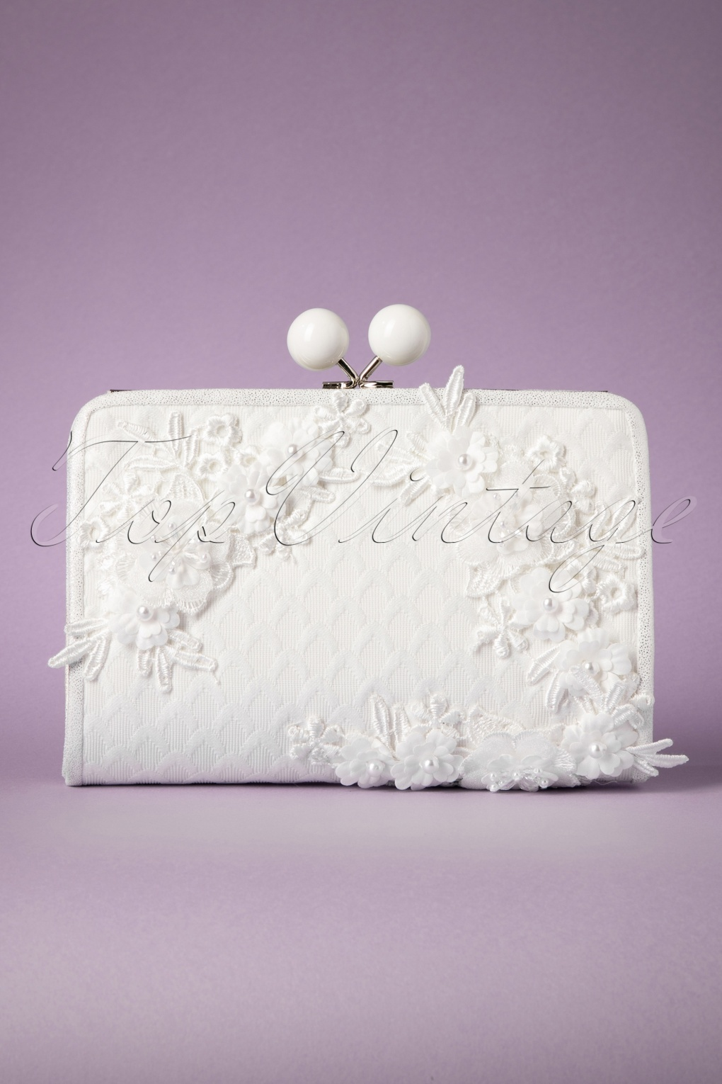 Vintage & Retro Handbags, Purses, Wallets, Bags 50s Riga Flowers and Pearls Clutch in Ivory £59.45 AT vintagedancer.com