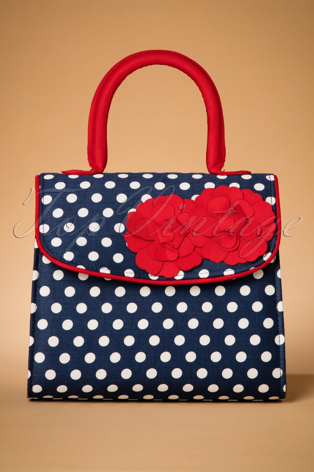 Vintage & Retro Handbags, Purses, Wallets, Bags 50s Tortola Handbag in Navy Spots £46.13 AT vintagedancer.com
