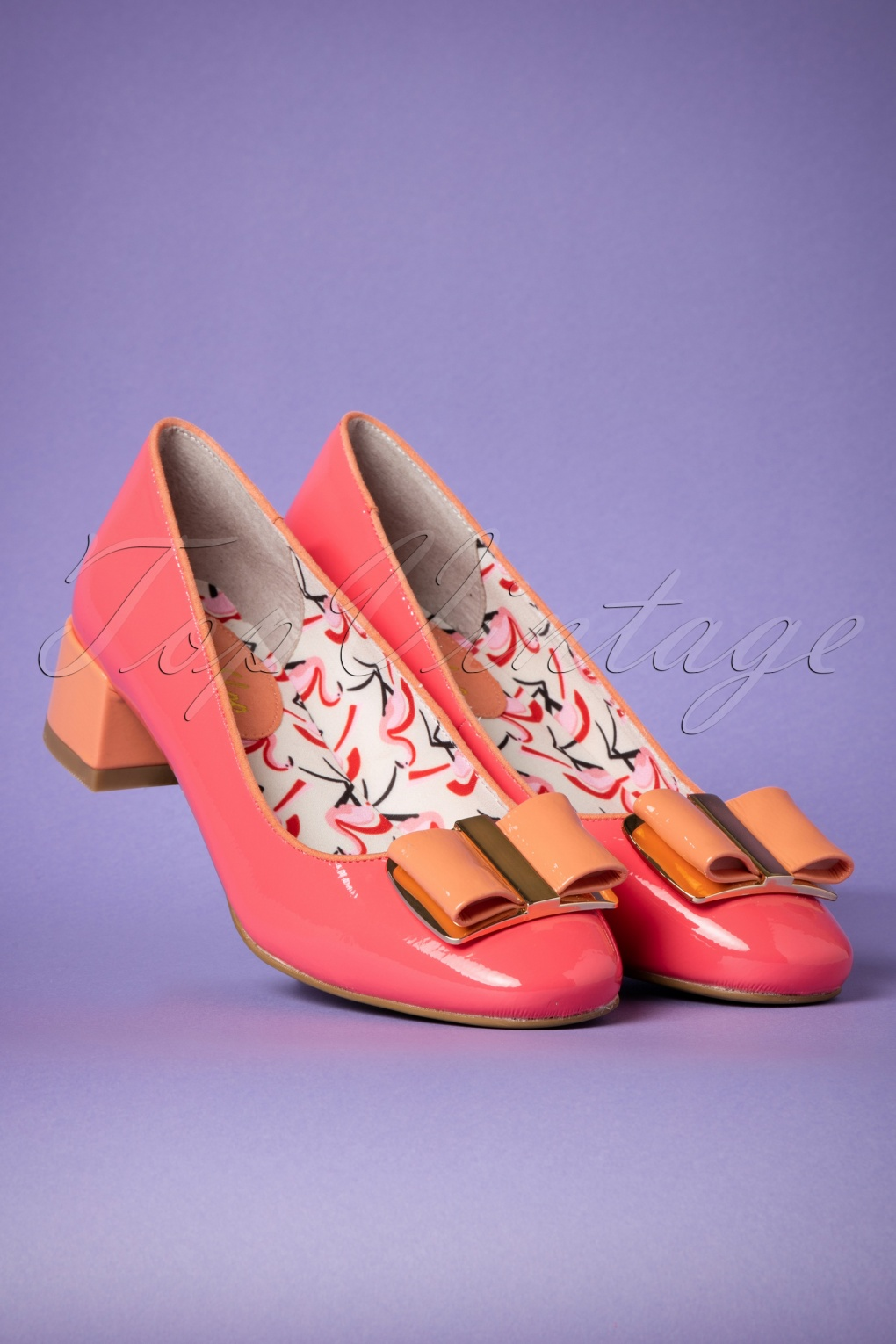Retro Vintage Flats and Low Heel Shoes 60s June Patent Pumps in Coral £60.85 AT vintagedancer.com