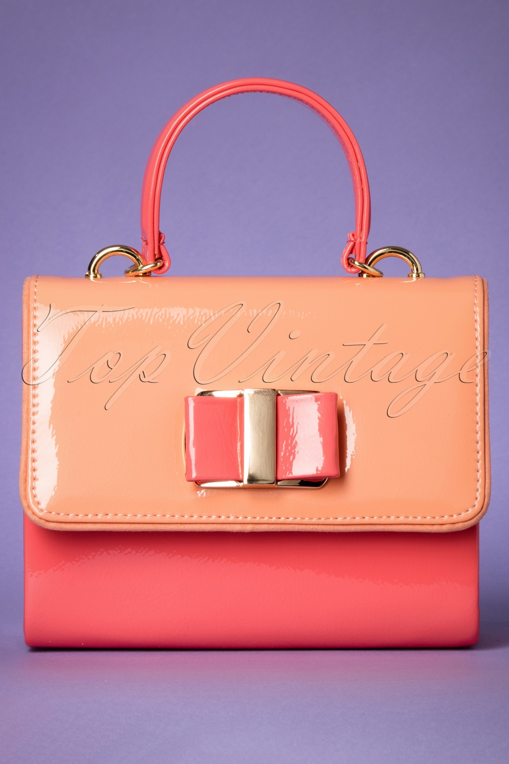 Vintage & Retro Handbags, Purses, Wallets, Bags 60s Casablanca Patent Handbag in Coral £46.13 AT vintagedancer.com