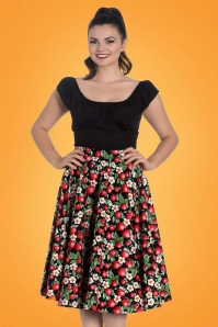 Strawberry Sundae Swing Skirt Années 50 en Noir
