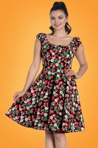 Strawberry Sundae Swing Dress Années 50 en Noir