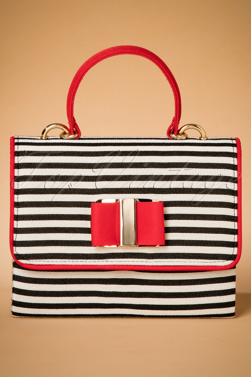 Vintage & Retro Handbags, Purses, Wallets, Bags 60s Casablanca Striped Handbag in Black and Red £46.13 AT vintagedancer.com