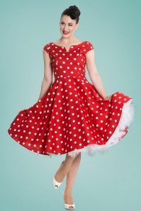 50s Nicky Polkadot Swing Dress in Red and White