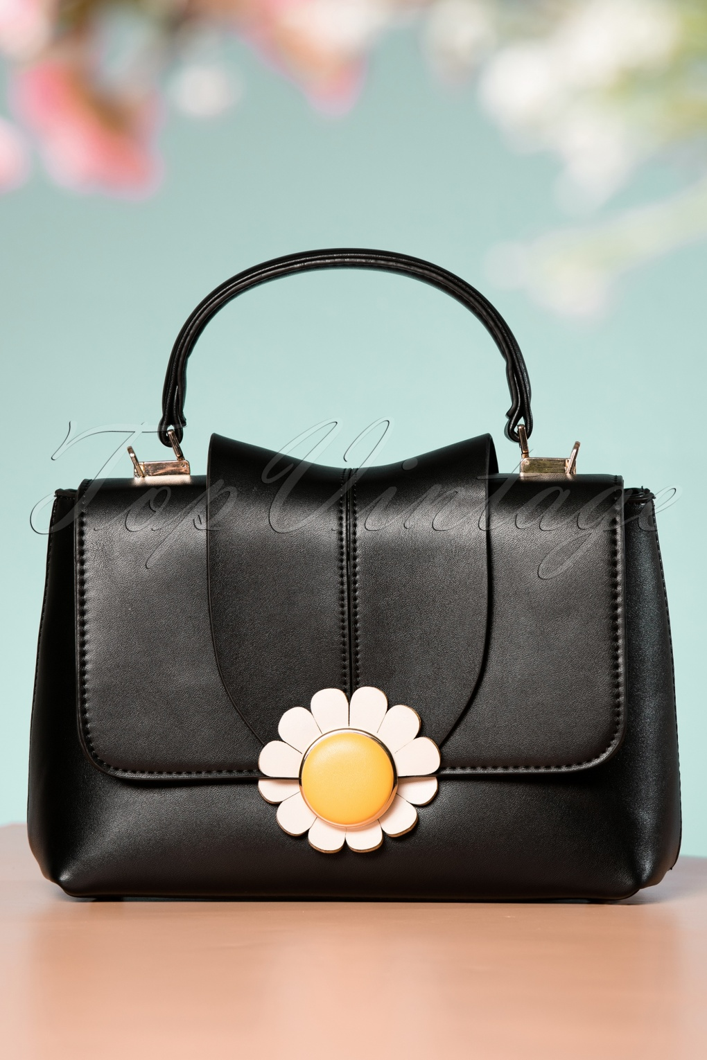 Vintage & Retro Handbags, Purses, Wallets, Bags 60s Daisy Handbag in Black £44.36 AT vintagedancer.com