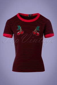 50s Ellie Top in Black and Red