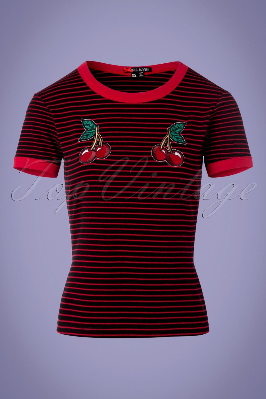 Vintage & Retro Shirts, Halter Tops, Blouses 50s Ellie Top in Black and Red £22.02 AT vintagedancer.com