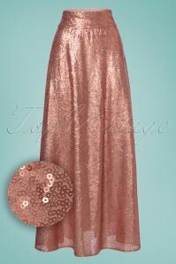 Boogie Sequins Maxi Skirt Années 70 en Rose