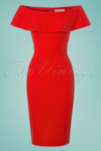 70s Niagara Little Wiggle Dress in Fire Orange
