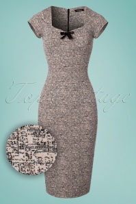 50s Josie Bow Pencil Dress in Powder Melange
