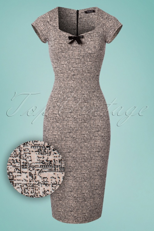 Vintage Chic Cap Sleeve Tweed Effect Pencil Dress 100 15 24527 20180124 0002W1