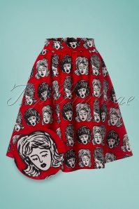 Retrolicious Wig Out Aline Skirt in Red 123 27 24629 20180125 0003wv