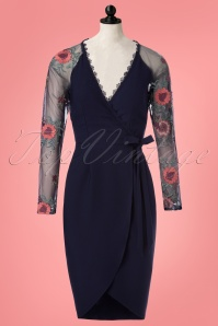 Little Mistress Navy Bodycon Floral Dress 100 31 23913 20180126 0003pop2