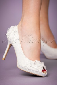 Ruby Shoo 50s Bianca Peeptoe Pumps in Ivory