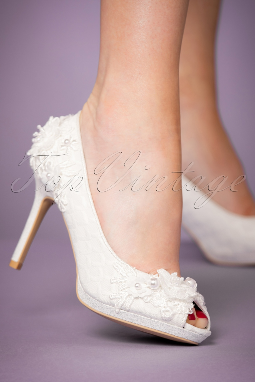 Vintage Wedding Shoes, Flats, Boots, Heels 50s Bianca Peeptoe Pumps in Ivory £74.65 AT vintagedancer.com
