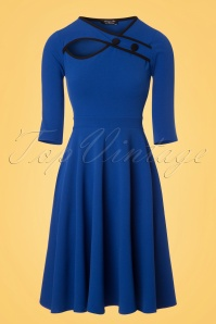 50s Rita Swing Dress in Royal Blue