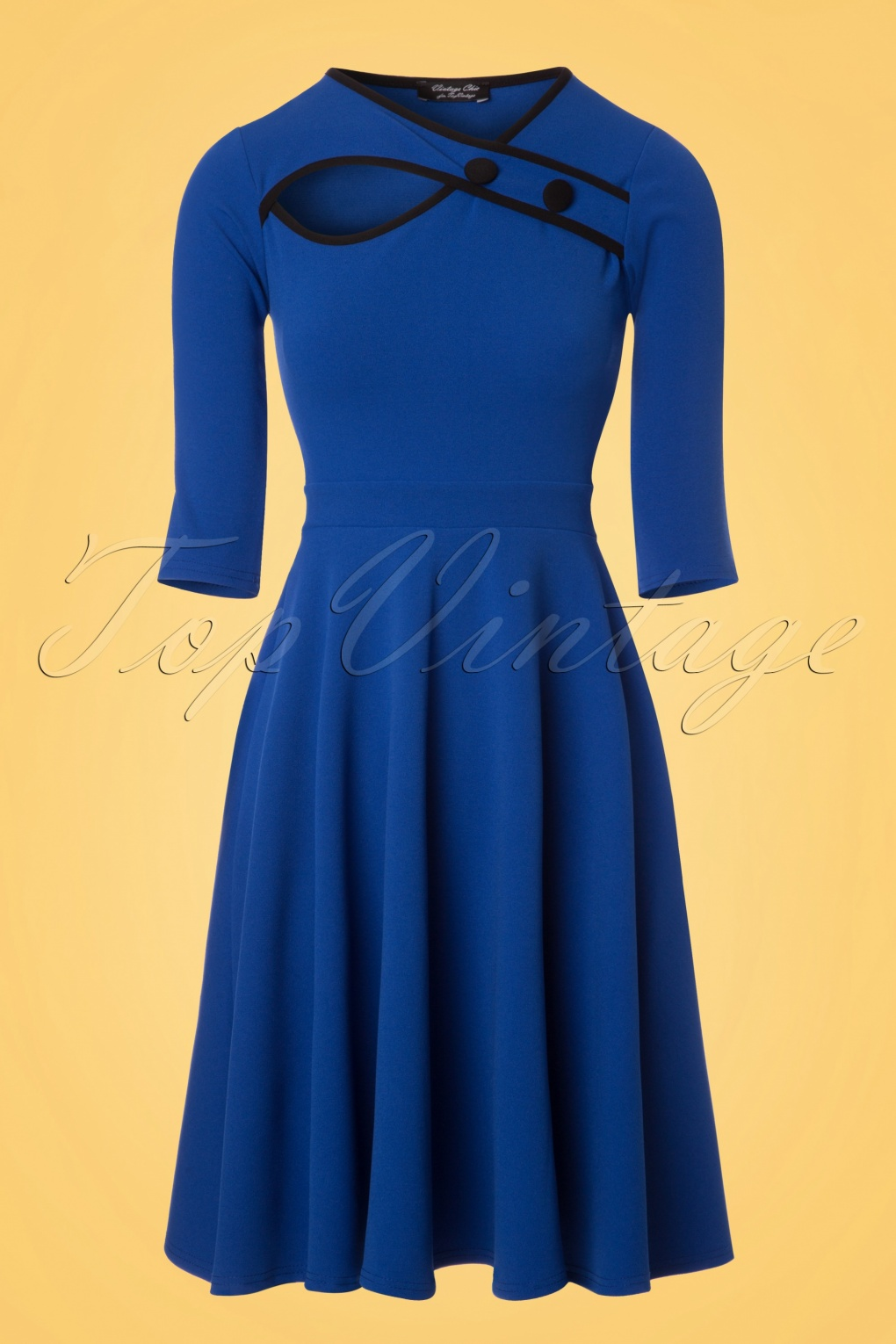 1950s Housewife Dress | 50s Day Dresses 50s Rita Swing Dress in Royal Blue £51.84 AT vintagedancer.com