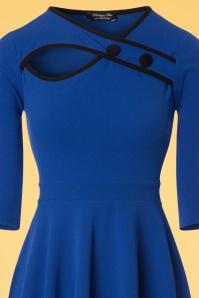 Vintage chic Button Keyhole Royal Blue Dress 102 30 24502 20180125 0003c