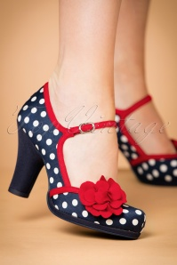 50s Hannah Pumps in Navy Spots