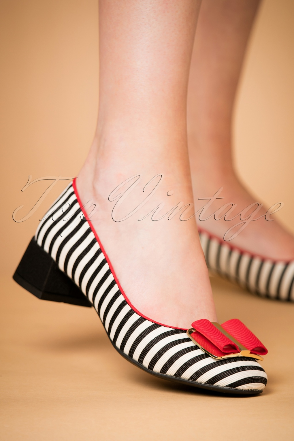 Retro Vintage Flats and Low Heel Shoes 60s June Striped Pumps in Black and Red £60.85 AT vintagedancer.com