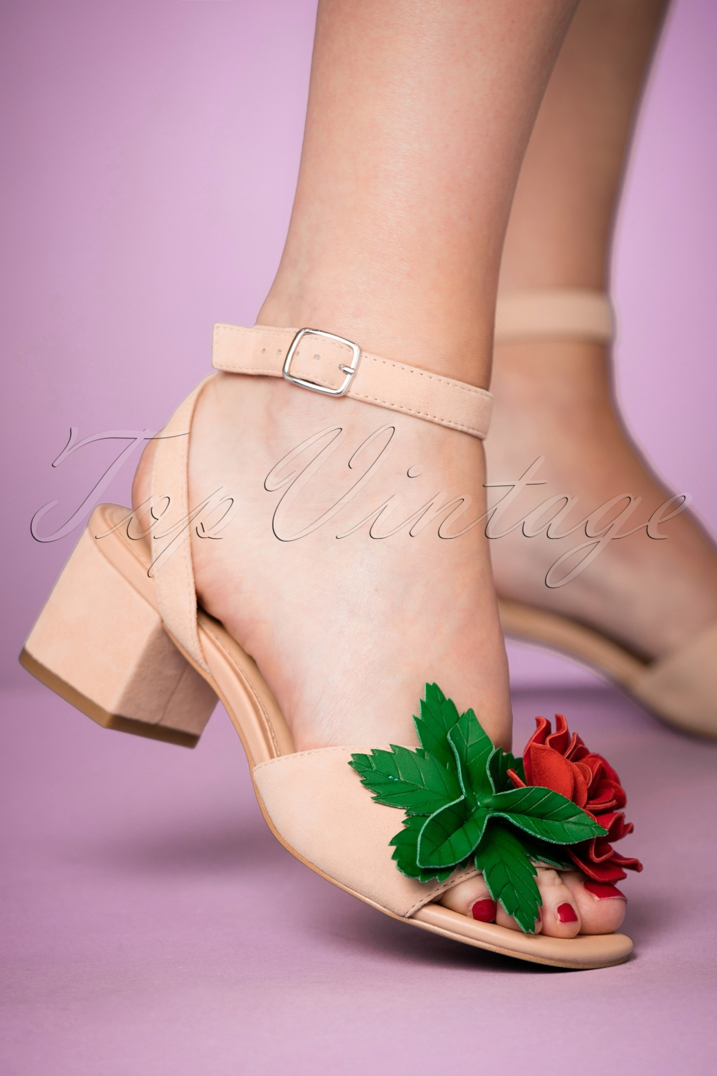60s Shoes, Boots | 70s Shoes, Platforms, Boots 60s Elanor Suede Sandals in Blush Nude £114.68 AT vintagedancer.com