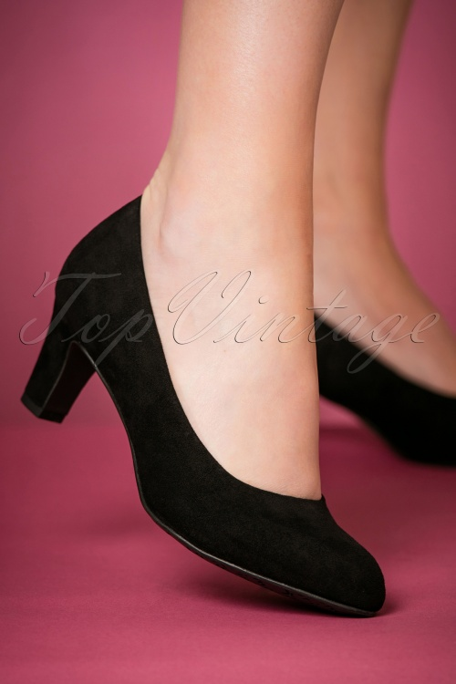 best loved 766bd d43d0 40s Sally Suedine Pumps in Black