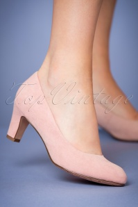 40s Sally Suedine Pumps in Dusty Pink