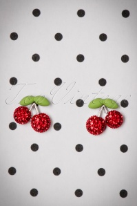 50s Sparkly Cherry Stud Earrings in Silver