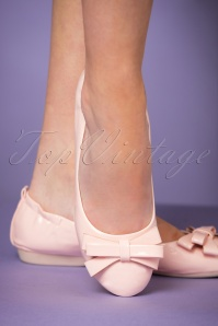 Pinup Couture 50s Foldable Bow Ballerina in Powder Pink