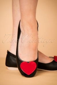Pinup Couture 50s Foldable Heart Ballerina in Black