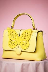 Beautiful Butterfly Handbag Années 60 en Jaune