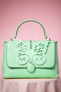 60s Beautiful Butterfly Handbag in Mint Green