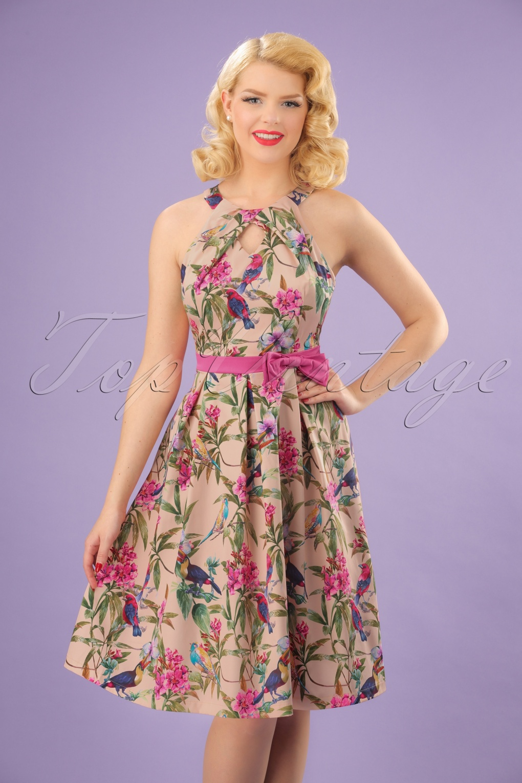 Vintage Tea Dresses, Floral Tea Dresses, Tea Length Dresses 50s Cherel Tropical Birds Swing Dress in Pink £43.76 AT vintagedancer.com