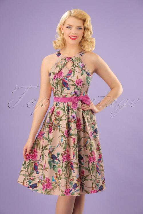 Lindy Bop Cherel Pink Tropical Birds Swing Dress 21231 20180102 1W