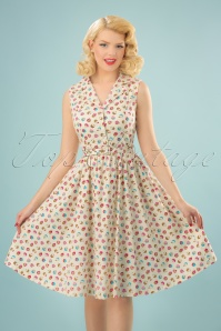 50s Matilda Cupcakes Swing Dress in Cream