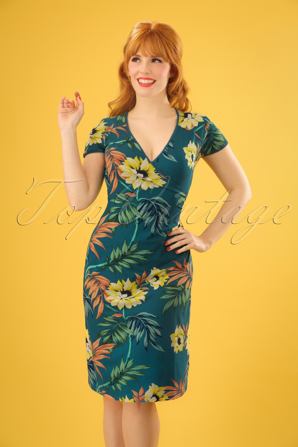 1960s Dresses: New 60s Style Dresses – Jackie O to Mod 60s Marisol Cross Dress in Parade Blue £83.80 AT vintagedancer.com