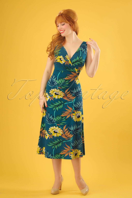 Vintage Tea Dresses, Floral Tea Dresses, Tea Length Dresses 70s Ginger Marisol Midi Dress in Parade Blue £83.18 AT vintagedancer.com