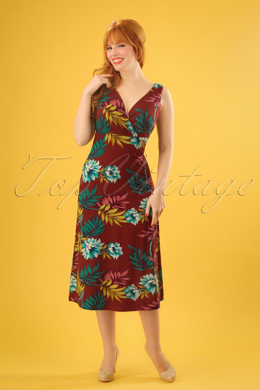 60s Plus Size Retro Dresses, Clothing, Costumes | 70s Dresses 70s Ginger Marisol Midi Dress in Rio Red £83.80 AT vintagedancer.com