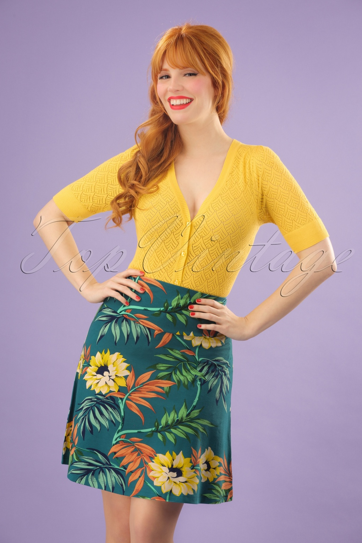 Retro Skirts: Vintage, Pencil, Circle, & Plus Sizes 60s Marisol Borderskirt in Parade Blue £52.91 AT vintagedancer.com