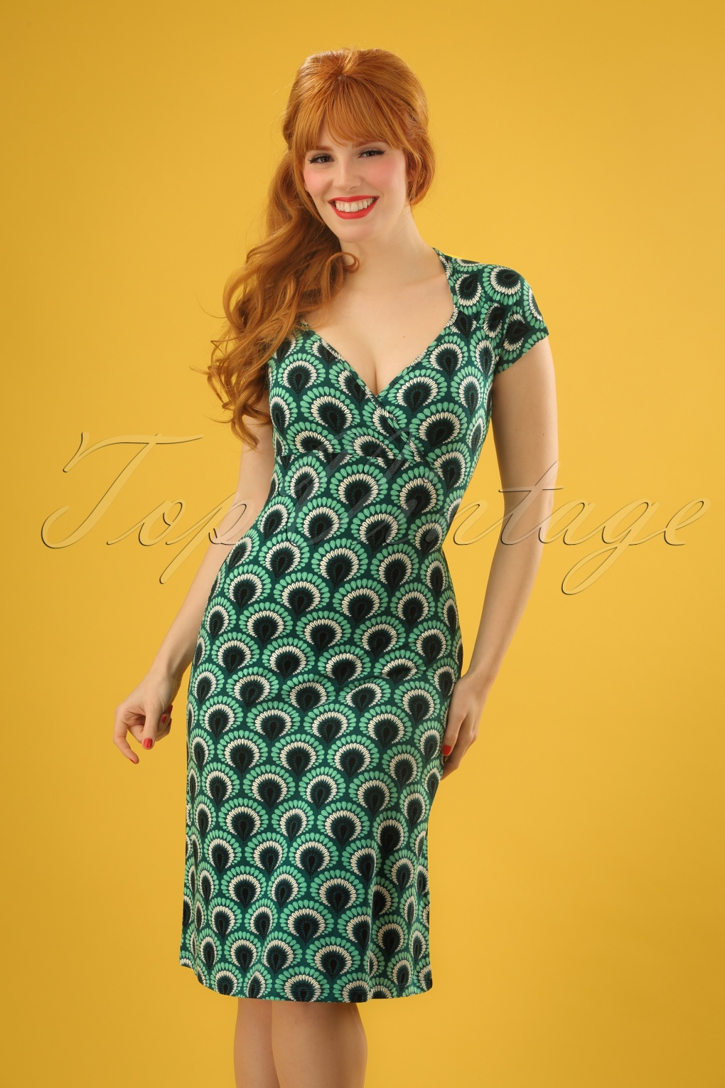 60s Plus Size Retro Dresses, Clothing, Costumes | 70s Dresses 60s Gina Peacock Dress in Rock Green £83.80 AT vintagedancer.com