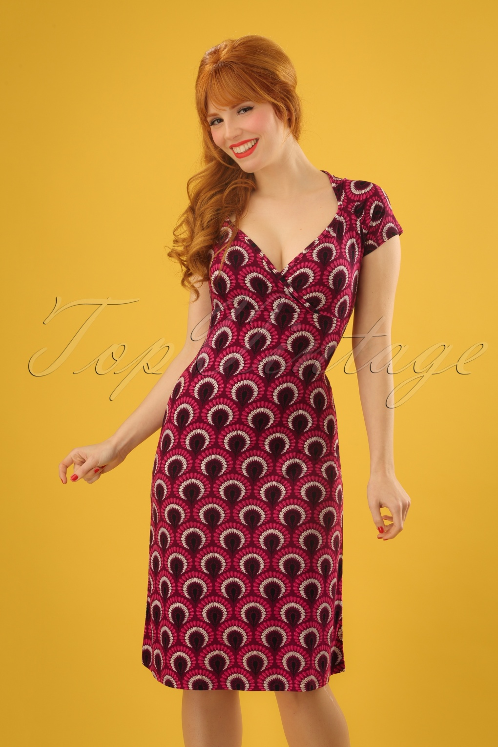 Plus Size Vintage Dresses, Plus Size Retro Dresses 60s Gina Peacock Dress in Beaujolais Red £83.18 AT vintagedancer.com