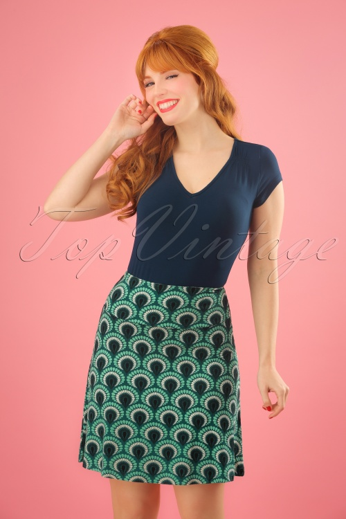 King Louie Border Skirt in Peacock Green 23101 20171221 1W