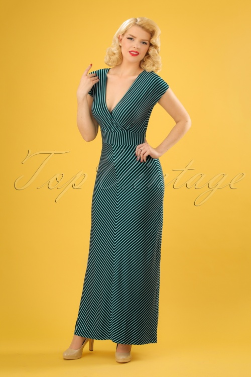 70s Lot Slim Shady Maxi Dress in Waterfall Green