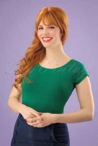 50s Sarah Top in Meadow Green