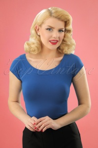 50s Sarah Top in Dutch Blue