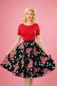 50s Collarette Swing Skirt in Black