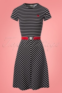 60s Adriane Stripes Dress in Black and White