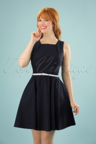 50s Helena Pin Dot Skater Dress in Navy