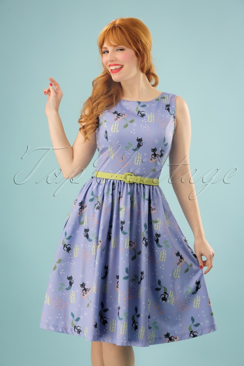 Lindy Bop Audrey Blue Mercats Swing Dress 24557 20180102 1W