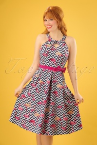 Lindy Bop Cherel ZigZag Flamingo Swing Dress 24562 20180102 1W